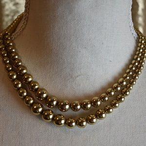Monet Vintage beaded gold multi strand necklace